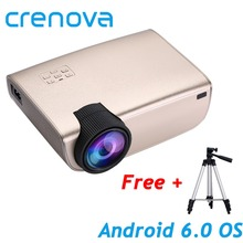 CRENOVA  2019 Newest Android projector Support Full HD 1080P Android 6.0 OS with WiFi Bluetooth Home Theater Movie projector