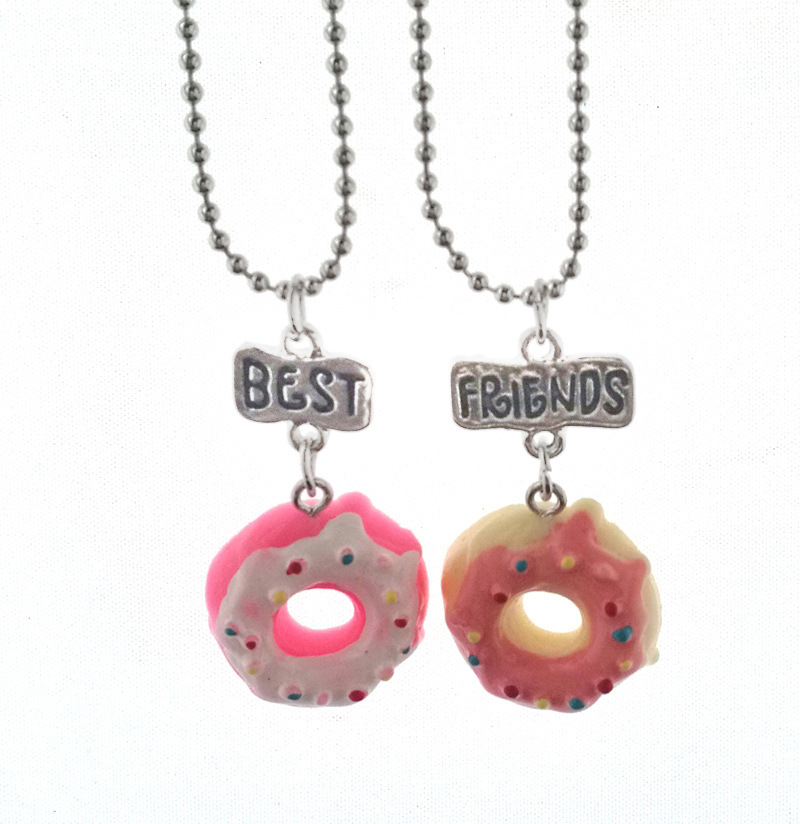 10 Set/Lot Cute Resin Cake Donuts Best Friends BFF Necklace Pendant Two Piece Set For Boys and Girls BFF