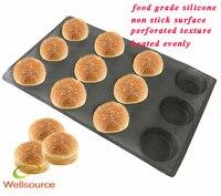 12 полости Muffin Pan круглые формы антипригарным перфорированные выпечки Коврики для 4-дюймовый булочки 12 круглой формы форма хлеб лоток формы п...