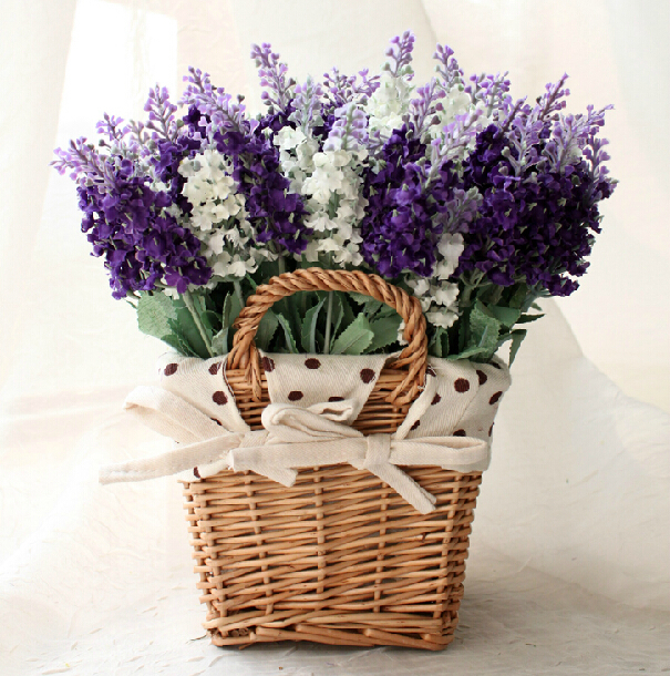 Wicker square baskets artificial flowers overall floral european wicker square baskets artificial flowers overall floral european pastoral style home decoration wedding decoration in artificial dried flowers from home junglespirit Image collections