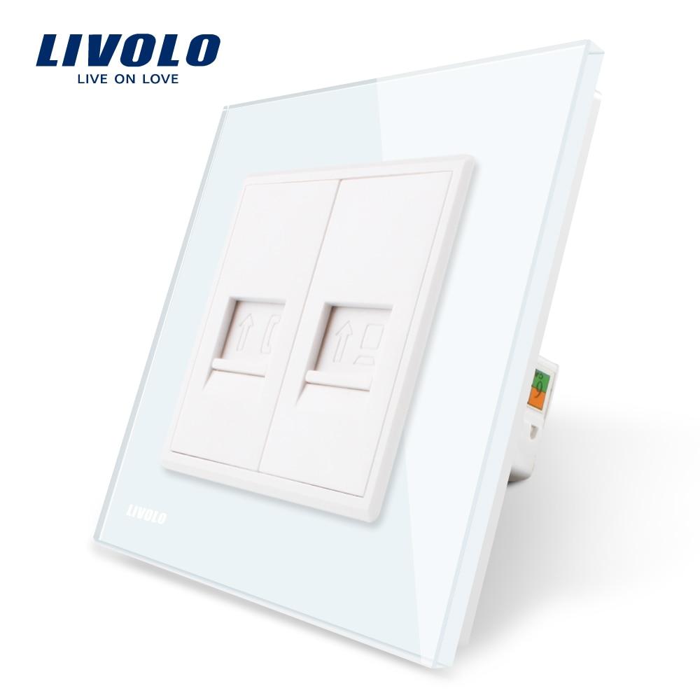 Livolo Fabrication Panneau Verre Cristal Blanc, 2 Troupes Mur Tel et Com Socket/Sortie VL-C791TC-11 Sans Plug adaptateur