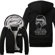2015 Movie Star Wars 7 The Force Awakens Kylo Ren Super Warm Fleece Winter Zip up Printing Pattern Hoodies
