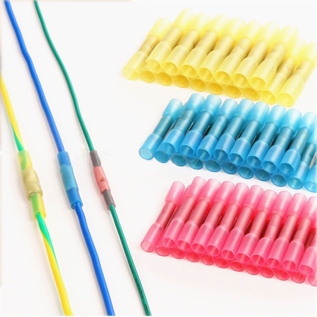 100pcs 10-12 14-16 16-22 AWG Heat Shrink Butt Wire Electrical Crimp Connector