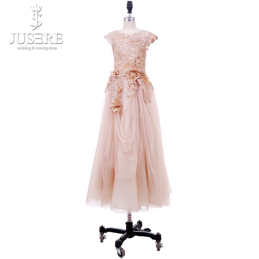 Jusere Champagne Lace Bodice A Line   Girl     Dresses   Ankle Length Cap Sleeves Tulle   Flower     Girl     Dress   2019 Real Picture