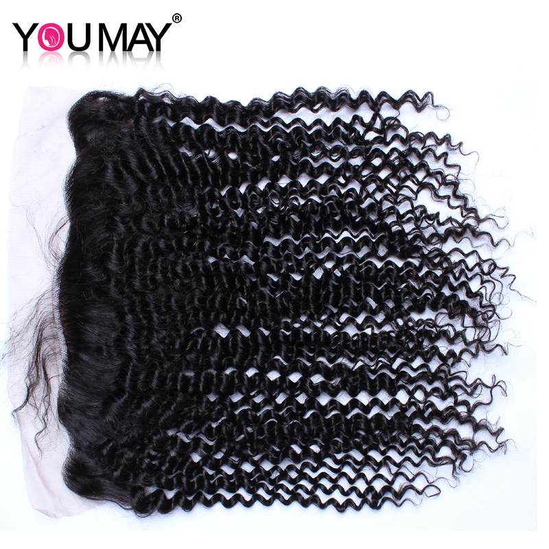 13X4 Lace Frontal Closure With Baby Hair Kinky Curly Silk Base Closure Brazilian Remy Hair Natural