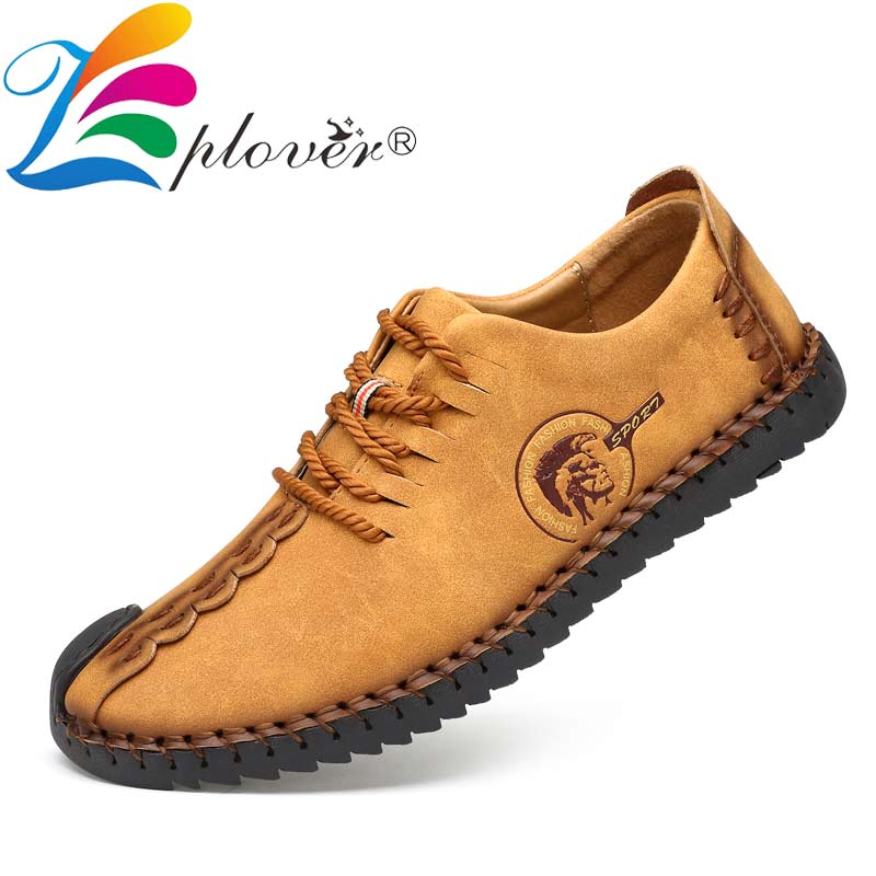 2019 Classic Men Casual Shoes Men Loafers Split Leather Shoes Men Flats Handmade Lace-up Hot Sale Moccasins Shoes Big Size