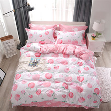 Princess Fruit Peach Bedding Sets Duvet Cover Set Bed Sheet Pillowcase Pink  Twin Full Queen King