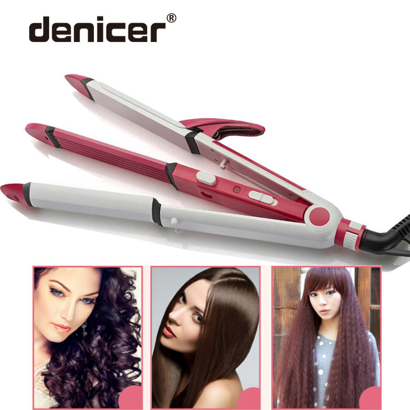2 Colors 3 in 1 Electric Hair Curler and Straightener Personal Hair Styling Tools Wave Tourmaline Ceramic Styler Curling Iron 3 in 1 straightening corrugated iron ceramic hair straightener and hair curler professional curling wand iron hair styling tools