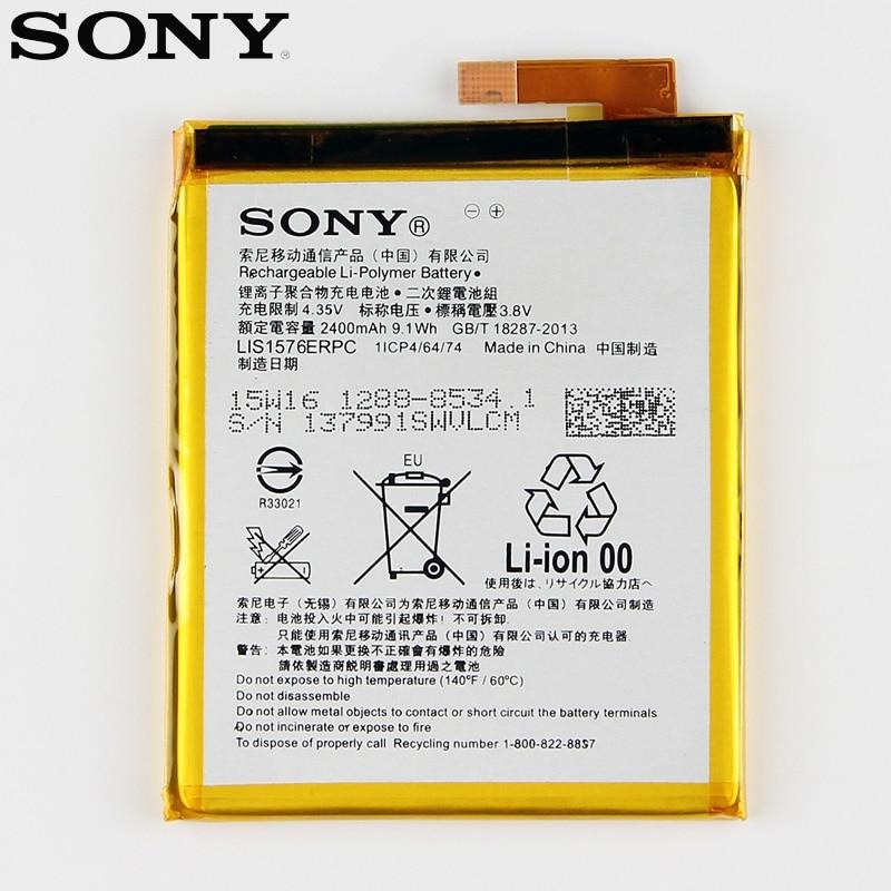De Remplacement d'origine Sony Batterie Pour SONY Xperia M4 Aqua E2303 E2333 E2353 LIS1576ERPC Véritable Téléphone Batterie 2400 mAh