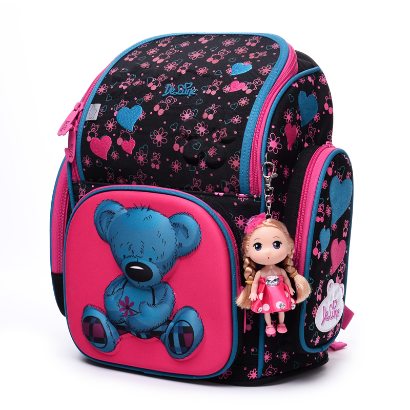High quality 3D children 6-12 year Stationery bag Large capacity girl school bag free doll students child kids travel backpack