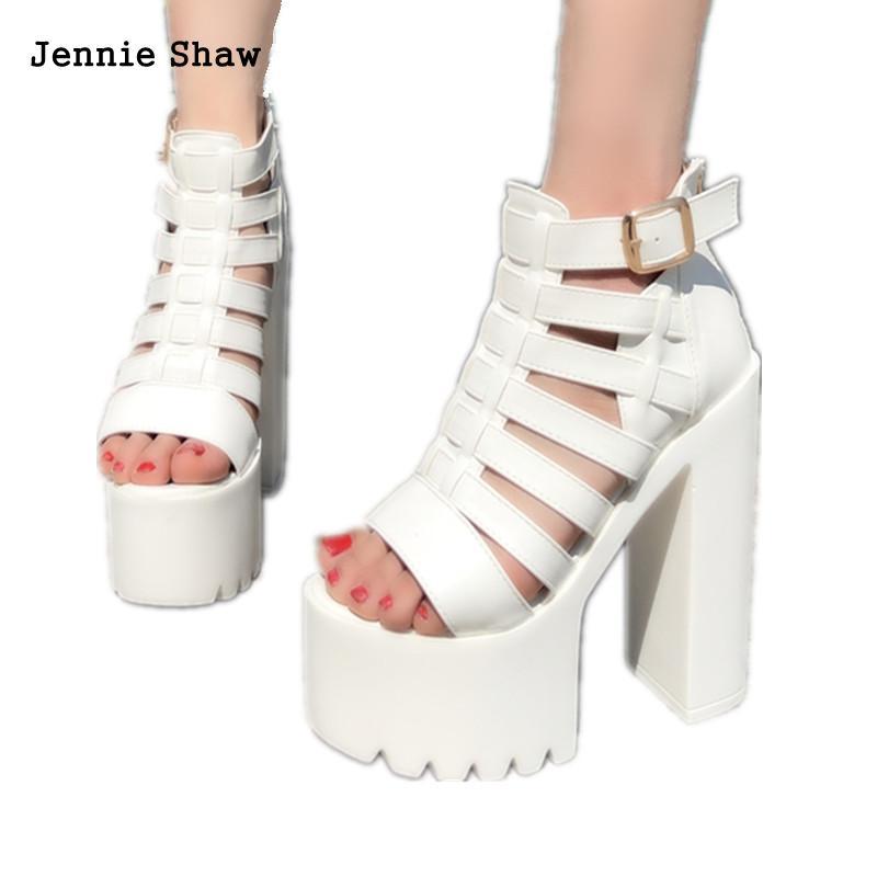 15 Cm High Heel Summer Women's Sandals Fish Mouth Peep Toe White Rome Sandals Platform Zip