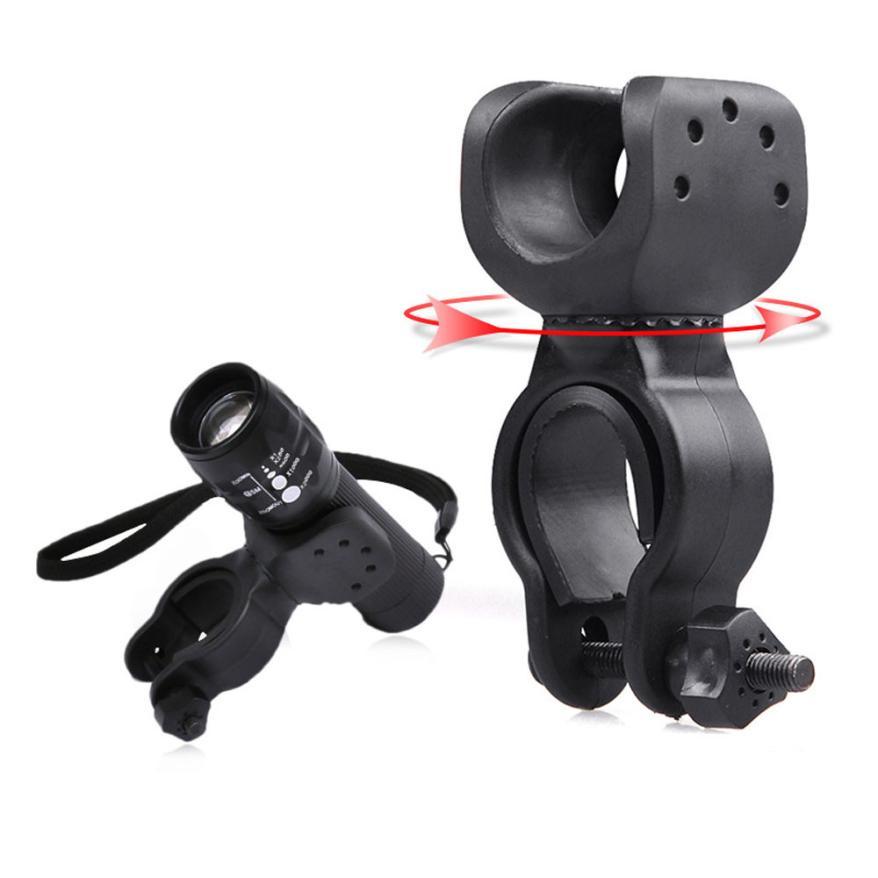 Torch Clip Mount Bicycle Front Light Bracket Flashlight Holder 360 Degrees Rotation With Antiskid Gaskets Bike Lamp Holder P40