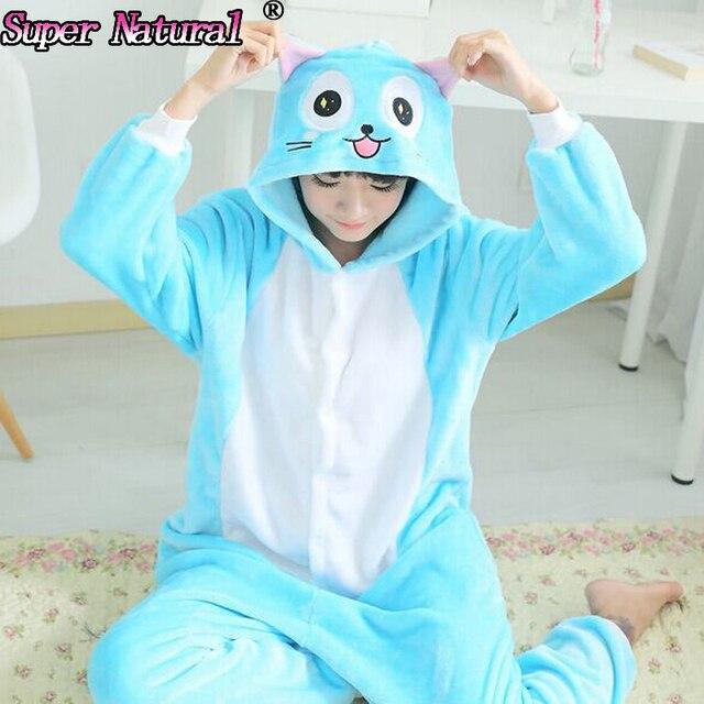 HKSNG High Quality Winter Adult Women Animal Fairy Tail Happy Cat Pajamas  Halloween Onesies Cosplay Kigurumi Pyjamas With Zipper 7a9d47b35d