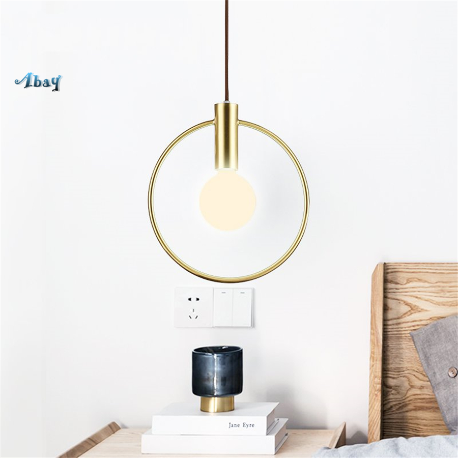 Nordic Golden Ring Elegant Pendant Lights for Living Room Bedroom Kitchen Restaurant Bar Hanging Lamp Loft Decor Light FixturesNordic Golden Ring Elegant Pendant Lights for Living Room Bedroom Kitchen Restaurant Bar Hanging Lamp Loft Decor Light Fixtures