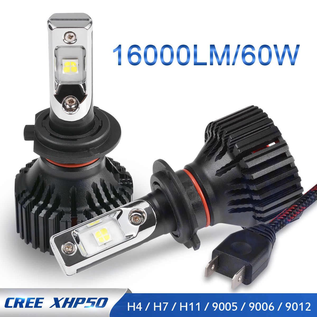 Katur H7 Led Headlight kit Fog Light Lamps XHP50 12V 24V 60W 16000Lm 360 Degree Lighting H4 H11 H16 H13 PSX24W PSX26W P13 Led