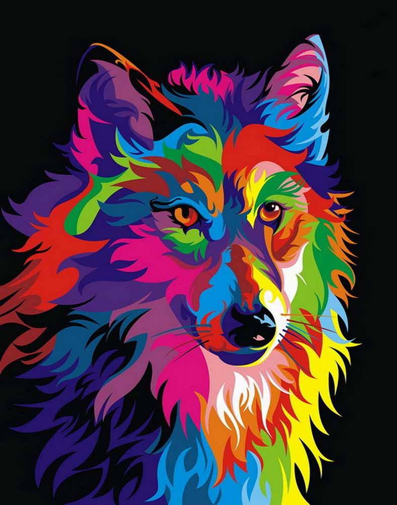 홈 오피스 장식 거실 아트 벽 장식 HD 인쇄 동물 컬러 늑대 유화 캔버스에 인쇄