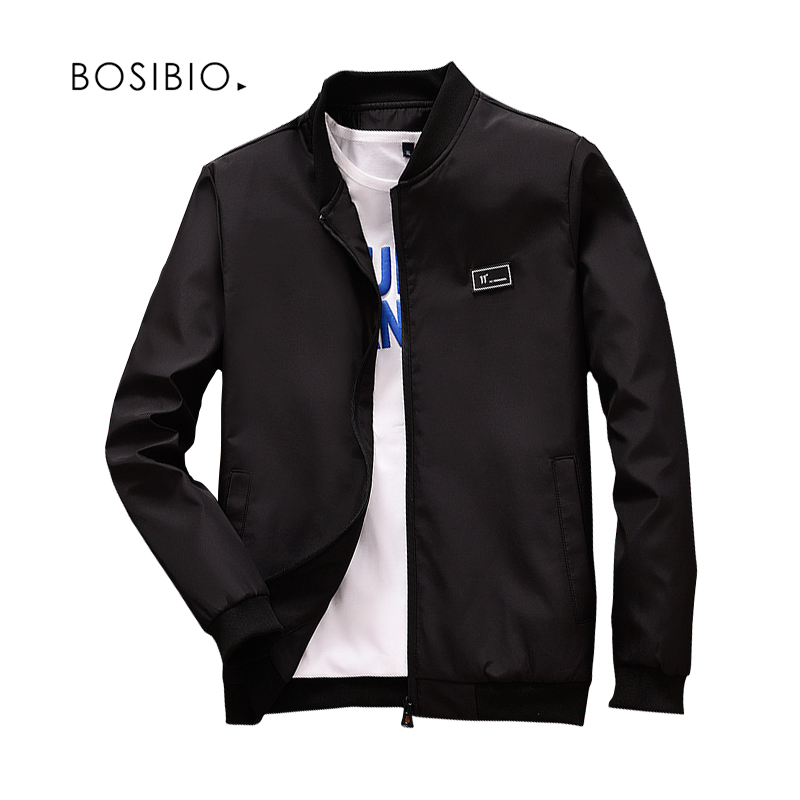 BOSIBIO 2018 Spring Summer Mens Jackets And Coats Thin Slim Fit Bomber Jackets Black Stand Collar jaqueta masculina Hot Sale LH1