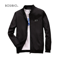 BOSIBIO 2018 Spring Summer Mens Jackets And Coats Thin Slim Fit Bomber Jackets Black Stand Collar