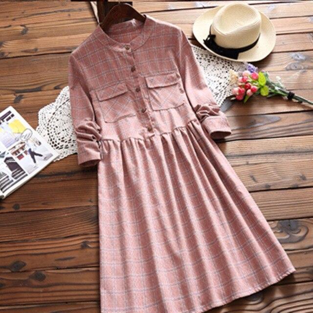 Mori Girl Harajuku Vintage Retro Hippie Boho Preppy Style Bohemian Robe Loose Cute Sweet Plaid Cotton Thick Spring Autumn Dress