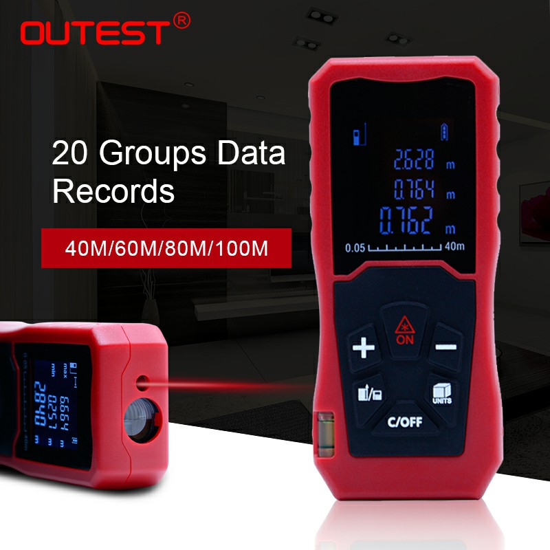 OUTEST Laser Distance Meter Laser Rangefinder 40M 60M 80M 100M Single Continuous Area/Volume/Pythagoras Measurement outest digital laser rangefinder laser distance meter range finder area volume measurement with angle indication 40 60 80 100m
