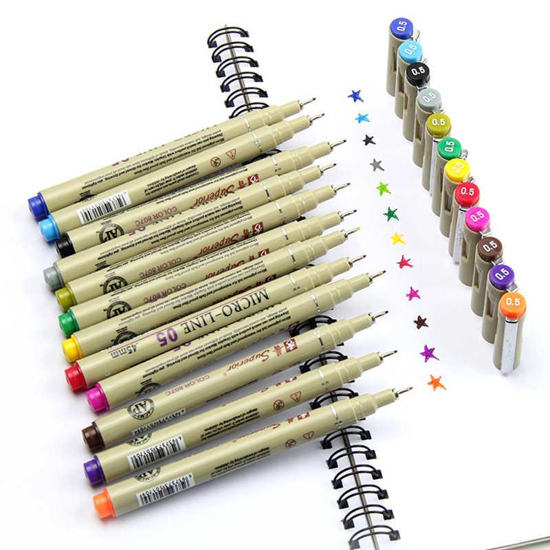 Художественные маркеры чернила 12 цветов тонкая перьевая ручка эскиз мультипликационный рисунок ручка анимация искусство канцелярские принадлежности креативные дизайнерские поставки