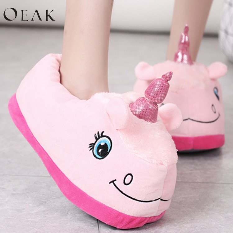 Oeak Home Cartoon Unicorn Warm Cotton Plush Slippers Soft Funny Animal Monster Slipper Woman Plush Fluffy Slippers 2017 totoro plush slippers with leaf pantoufle femme women shoes woman house animal warm big animal woman funny adult slippers page 8