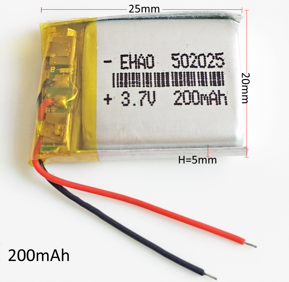 3.7V 200mAh <font><b>502025</b></font> Lithium Polymer LiPo li ion Rechargeable <font><b>Battery</b></font> For Mp3 Camera bluetooth GPS PSP mobile 5*20*25mm image