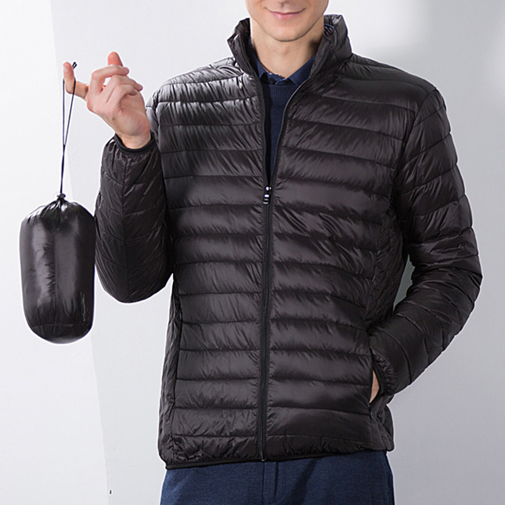 Coat Down-Jacket Foldable Winter Fashion Cotton Stand Collor Men's Pure-Color -4o11 -F
