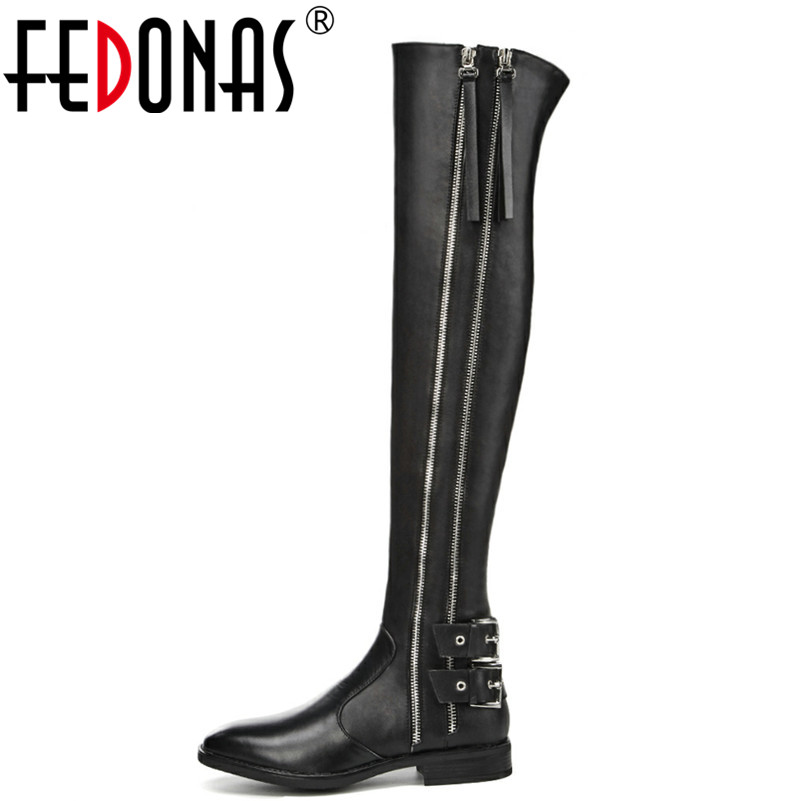 FEDONAS Brand Women Over The Knee High Boots Thick Heels Autumn Winter Long Motorcycle Boots Prom Shoes Woman Tight High Boots fedonas top fashion women winter over knee long boots women sper thin high heels autumn comfort stretch height boots shoes woman