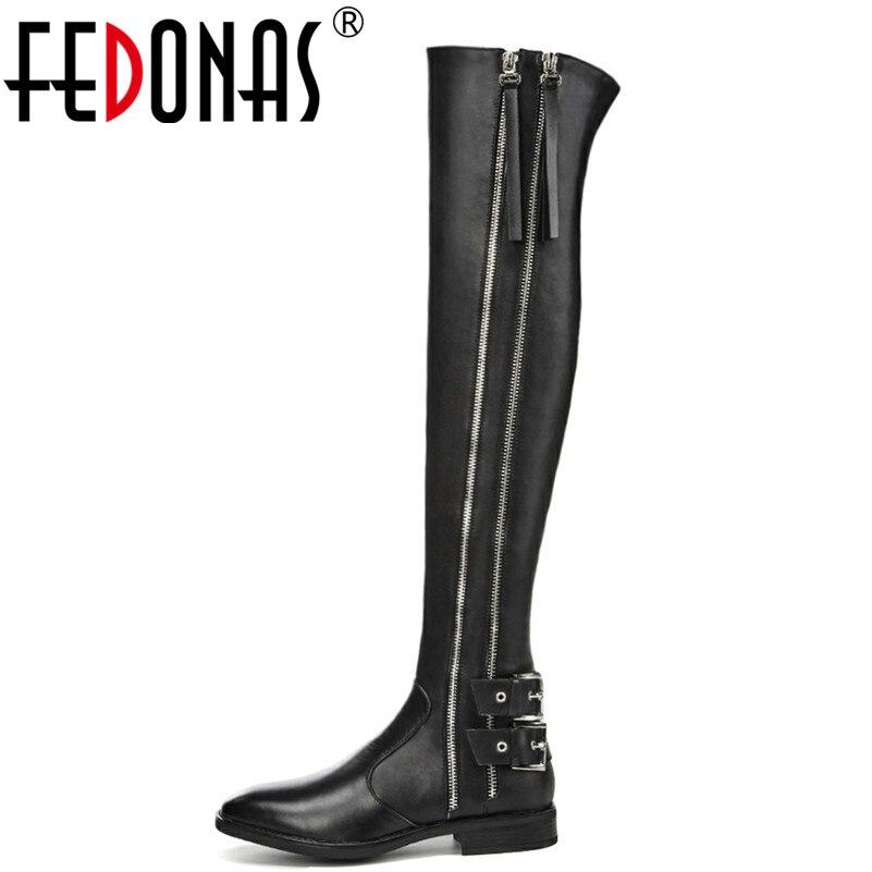 FEDONAS العلامة التجارية النساء فوق حذاء برقبة للركبة سميكة الكعوب الخريف الشتاء طويل دراجة نارية الأحذية حفلة موسيقية أحذية امرأة ضيق أحذية عالية-في أحذية فوق الركبة من أحذية على  مجموعة 1