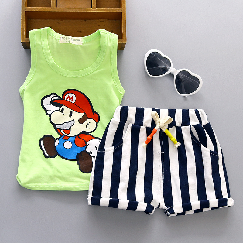 Baby Boy Clothes 2017 Summer Brand Sleeveless Tops Vest + Striped Shorts Childrens Outfits Kids Bebes Jogging Suit Tracksuits