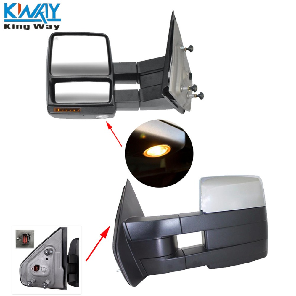 Free shipping king way for 07 14 ford f150 chrome towing mirrors power