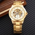 SHENHUA Brand Watches Men Mechanical Skeleton Wrist Watch Fashion Casual Automatic Wind Watch Gold Steel Band Relogio Masculino