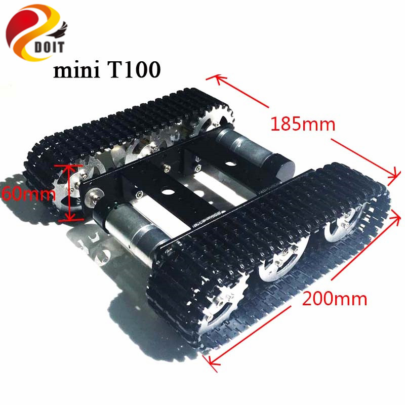 DOIT Metal Robot Tank Chassis mini T100 Crawler Caterpillar Tracked Vehicle with Plastic Tracked model diy teaching platform car diy tracked robot frame model 7 dof abb manipulator tk3a tracked chassis with motor servo control board and xd 229 auno r3