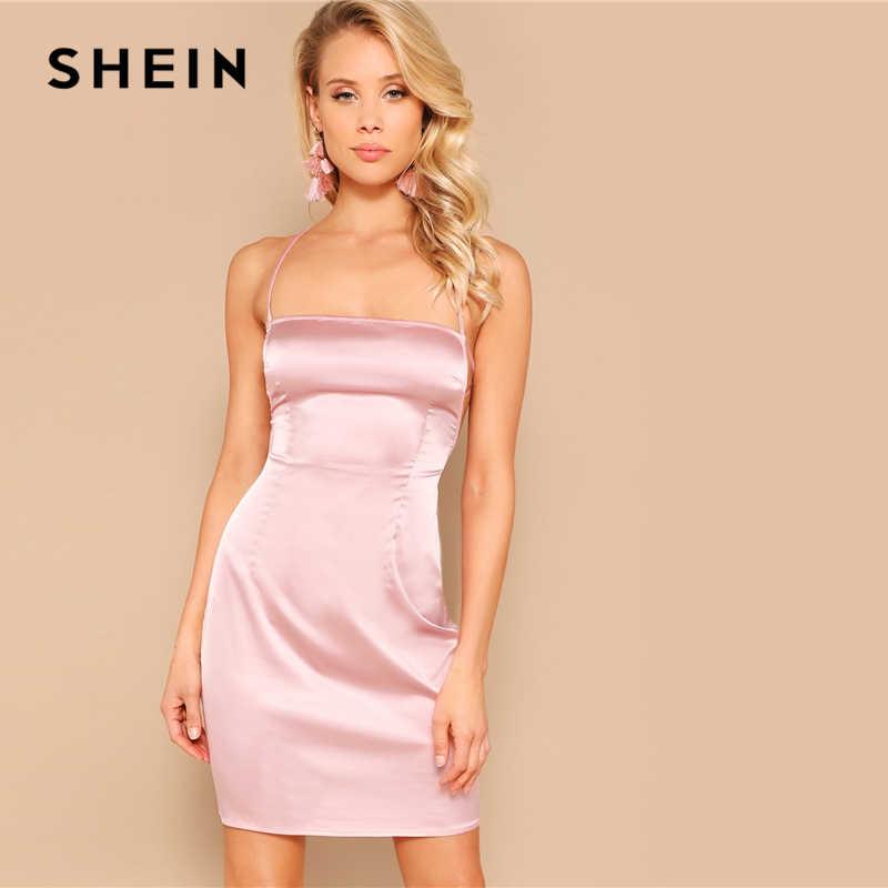 SHEIN Атласное Платье С Перекрещенной Спинкой Женское Летнее Розовое Сексуальное Платье Без Рукавов