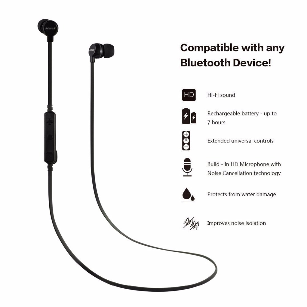 Sowak H3 Sports Wireless Bluetooth 4.1 Headsets Stereo Bass  with Mic and Sweatproof Earphones Noise Cancelling for mobie phone 2016 white and black joway h 08 wireless noise cancelling voice control sports stereo bluetooth v4 0 earphones with microphone