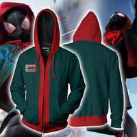 3D Impression spiderman Hoodies Molletonnés hommes Cosplay Spider-Man Dans le Spider-Verset décontracté personnalisé sweat à capuche Zipper 5XL