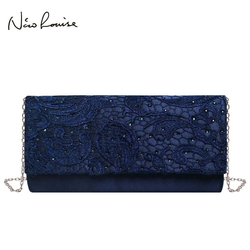 Women Clutch Shoulder-Bags Lace Evening-Bags Long-Purse Floral Party Black/blue Female