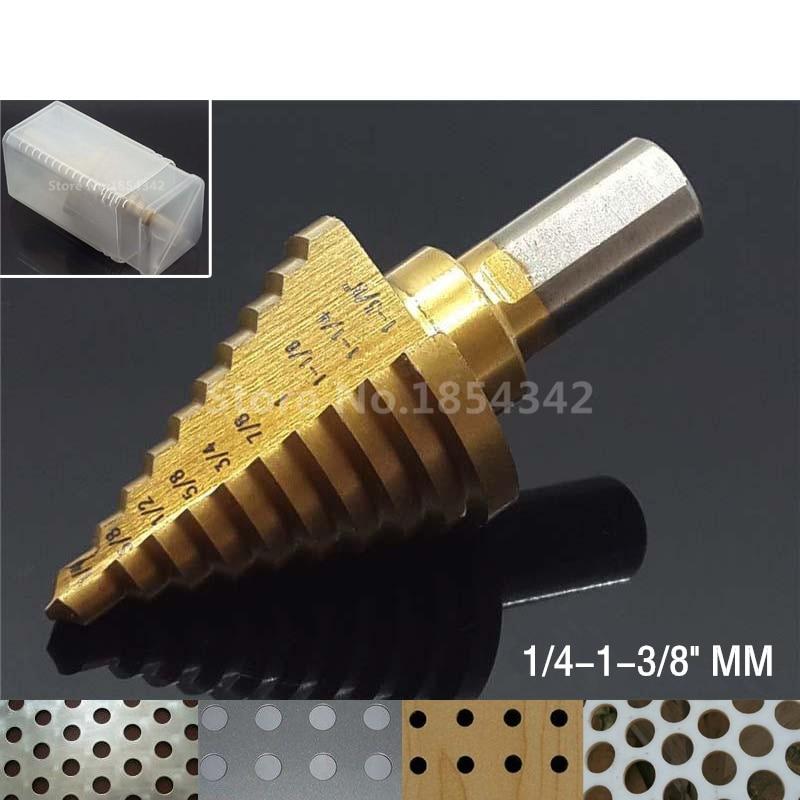 "Titanium HSS 10 Step Cone Drill Bit Hole Cutter For Sheet Metal 1//4/"" to 1-3//8/"""