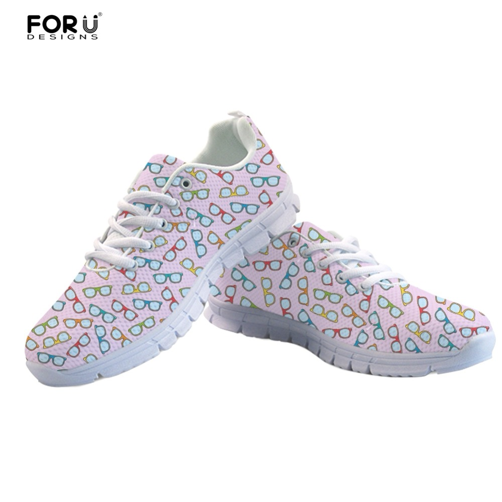 FORUDESIGNS New Fashion Womens Sneakers Novel Eyeglasses Pattern Casual Women Flats Shoe ...