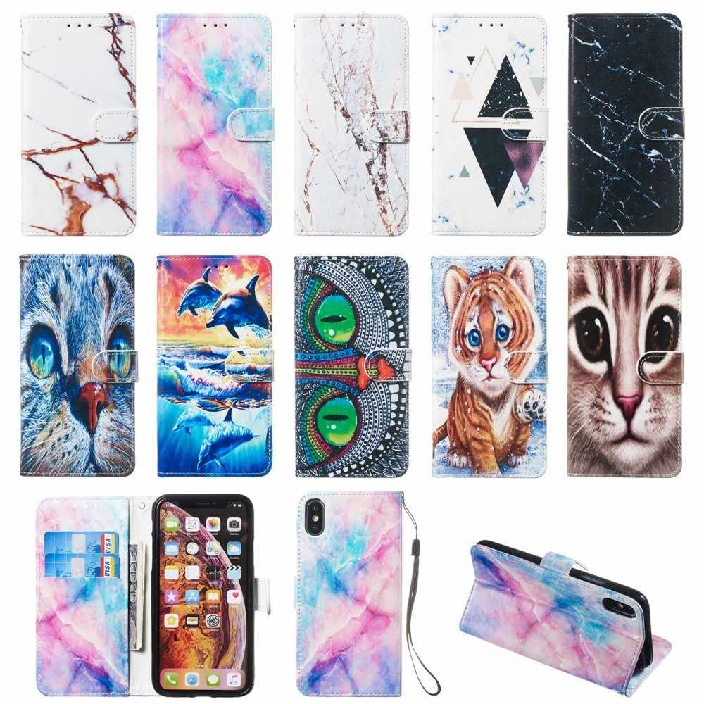 Cute Cartoon Coque Wallet Flip Phone Cases For Huawei Honor 7S Play 8A P30 P20 Lite Y5 Prime 2018 Y6 Y7 Pro 2019 View 20 Cover