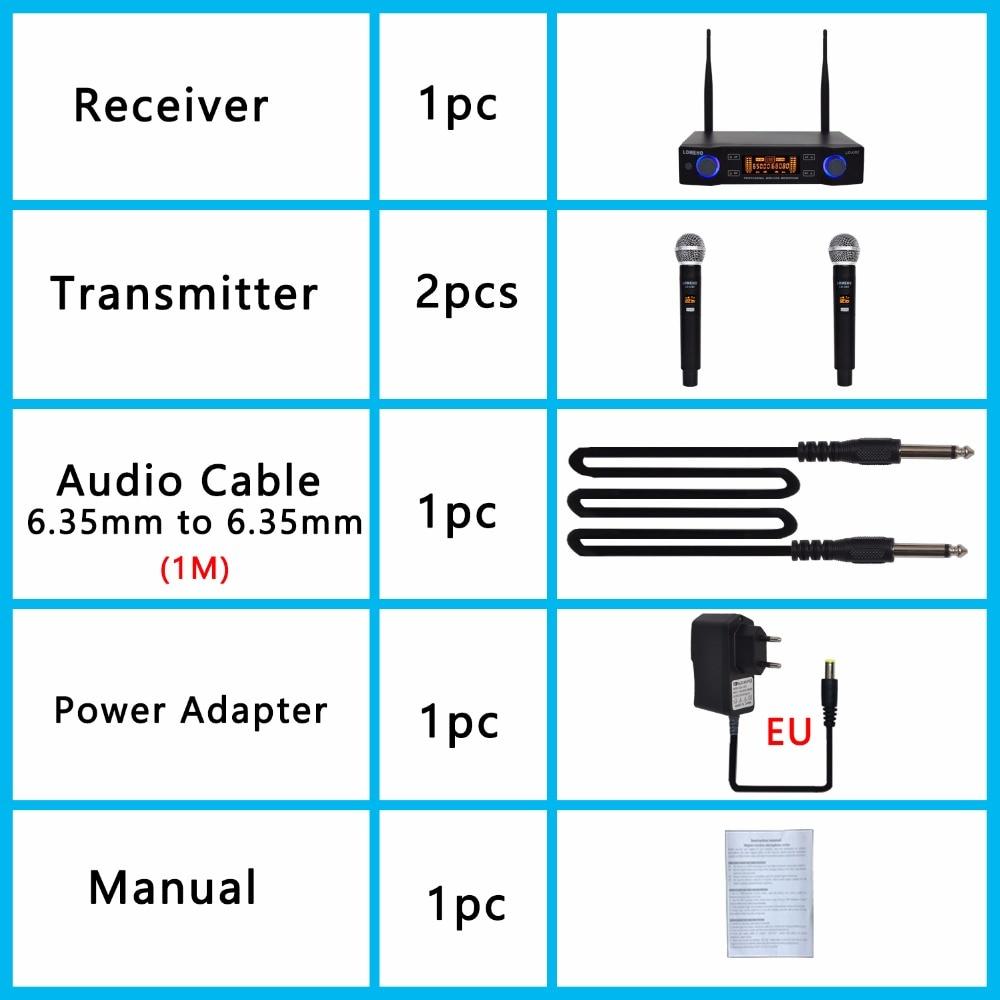 Lomeho LO-U02 2 fréquences UHF portables Capsule dynamique 2 canaux Microphone sans fil pour système karaoké - 5