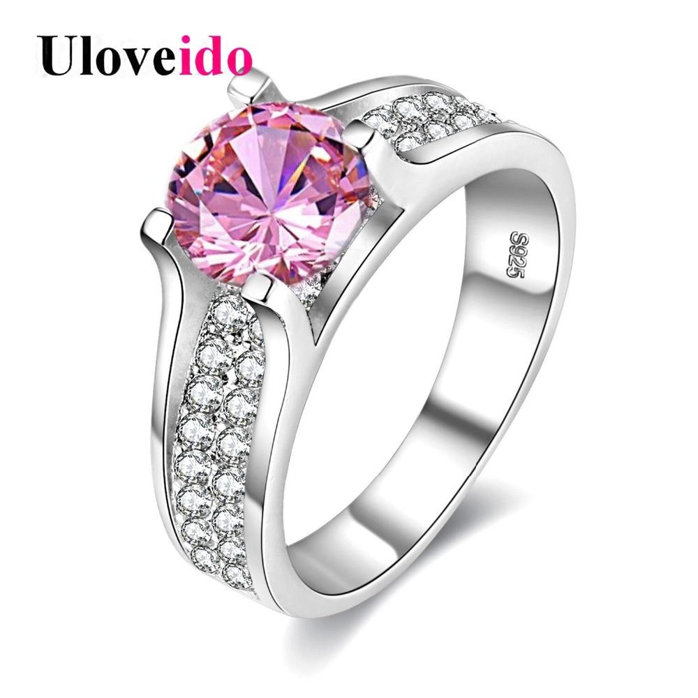Uloveido rózsaszín, kék, sárga barázda gyűrűk nőknek cirkónium esküvők Kézzel készített színes cirkon ékszerek Női lányok Anillo Azul Y006