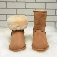 High Quality Ugs Australia Boots Women Real Sheepskin Fur Waterproof Winter Warm Wool Boots Brand Ivg Unisex Plus Size US3 14
