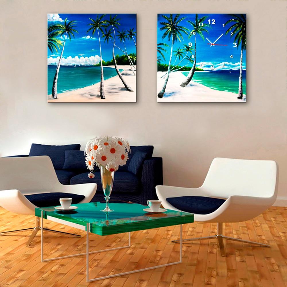 Free Shipping Art Print Coconut Beach Clock in Canvas 2pcs