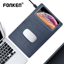 FONKEN אלחוטי מטען עכבר Pad צ י 10W אלחוטי USB טעינה עבור טלפון שולחן מטען Pad PU עץ תבואה מהיר תשלום Dock