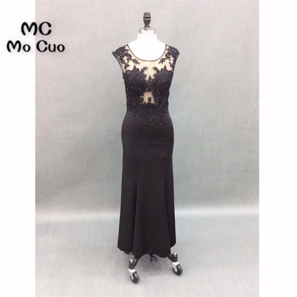 Elegant 2018 Sheer Lace Prom   Dresses   for teens Appliques Beaded Vestidos de fiesta Mermaid Formal   Evening     Dress   100% Real