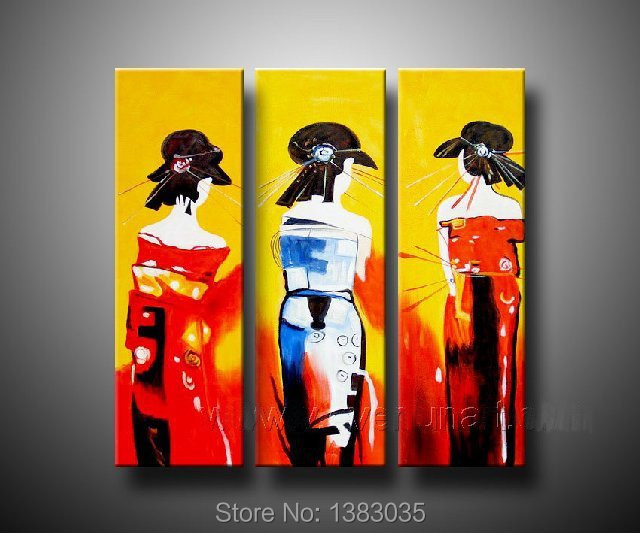 Hand Painted Japanese Women Abstract Painting On Canvas Modern Wall ...