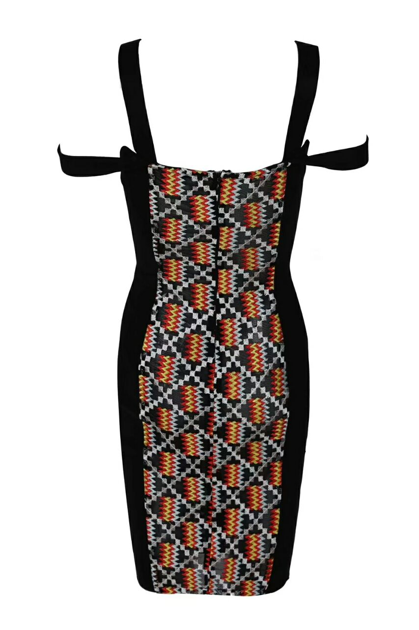 Gaine Bandage Imprimer Patchwork Carré Femmes Summer 2018 Celebrit New Élégant Col Courroie De Robes Robe Partie axqI47X4