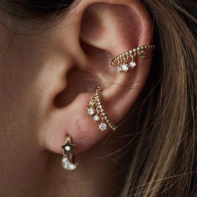 2018 Fashion Cz Drop Cuff Earring Round Bead Band No Piercing Ear Bone Jewelry Gold Silver